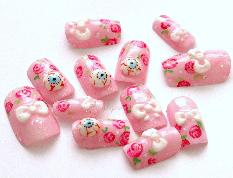 Eyeball kawaii nail deco nail 3d nails creepy kawaii goth zoom prinsesfo Image collections