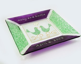 Wedding plate - Hand painted customized and personalized  plate in green and purple
