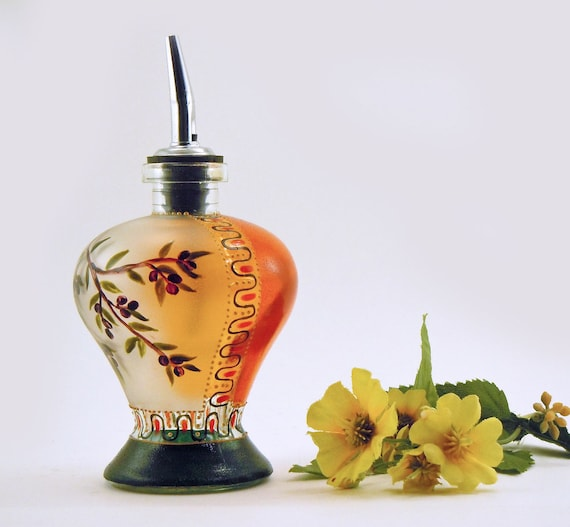 Oil decanter - Hand painted glass dispenser featuring an olive branch