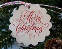 Merry Christmas (scripty) Scallop Christmas Tags or Package Labels . Red on KRAFT (Qty. 12)
