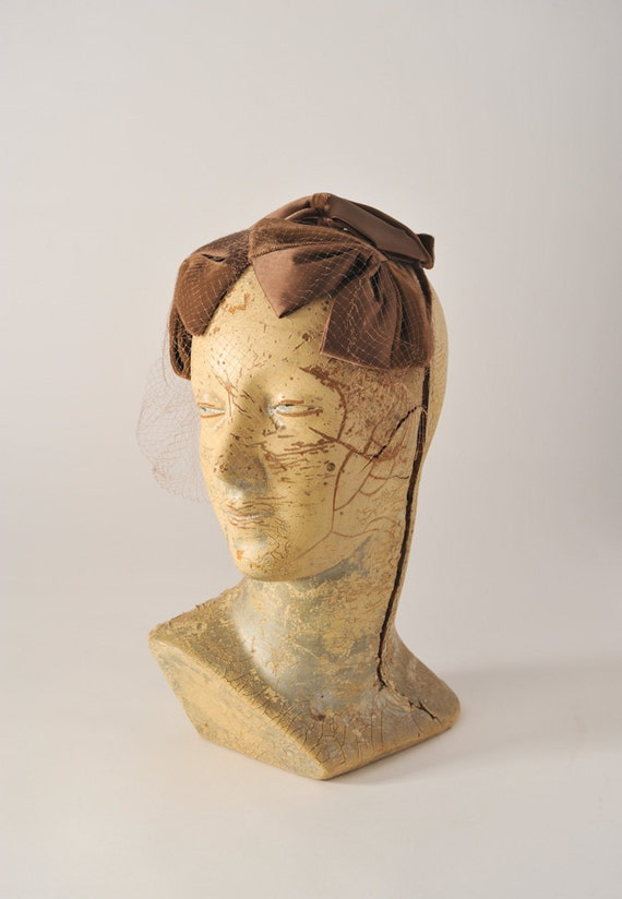 Taupe Velvet Satin Veiled Fascinator - Fawn Bridal