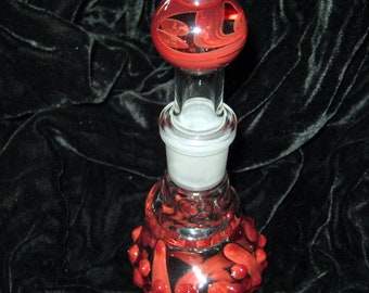 Exquisite Red Glass on Glass Bottle - Handblown Glass