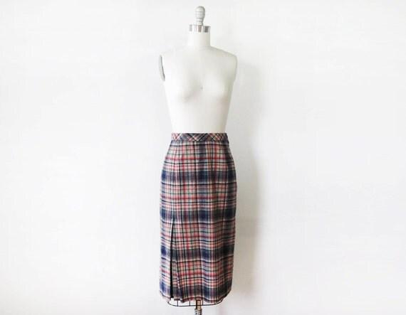 plaid wool skirt / vintage 1960s skirt / plaid pencil skirt
