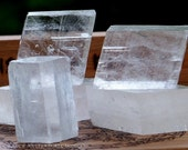 VIKING SUNSTONE Extra Large to Small Size Rhombohedral Iceland Spar Optical Calcite Crystal in *Velvet Gift Bag* for Navigating Inner Space