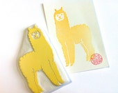 alpaca hand carved rubber stamp. farm animal stamp. birthday scrapbooking. holiday card making. gift wrapping. block printing. large