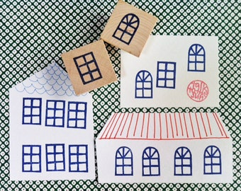 window stamps. architecture hand carved rubber stamp. draw a house. diy birthday christmas scrapbooking. holiday crafts. set of 2. mounted