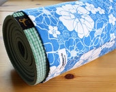 Clearance Sale - 30% off - Floral Yoga Bag, Yoga Mat Bag Pilates Bag Blue Yoga Bag, - Sapphire Blue and White Mod Floral READY tO SHIP
