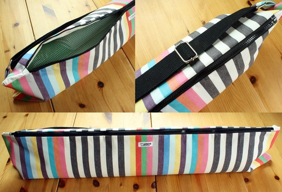 Yoga Bag Messenger Style Crossbody Yoga Bag with Zipper and Adjustable Strap in Multicolor Stripes MADE TO ORDER