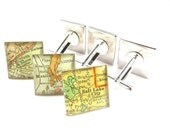 Groomsmen Gifts. Vintage Map Cufflinks. 3/4 Inch Square.  You Choose the Cities.