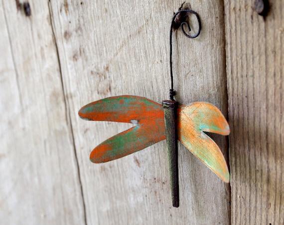 Industrial Dragonfly Ornament Pumpkin Orange Green Vintage Metal Wings Distressed Paint OOAK
