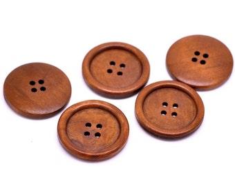 "Reddish Brown button - 4 wooden buttons 35mm (1 3/8"")  (BB135)"