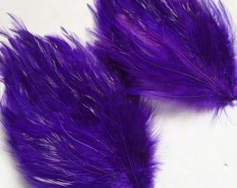SET OF 5 - Royal Purple Hackle Feather Pads