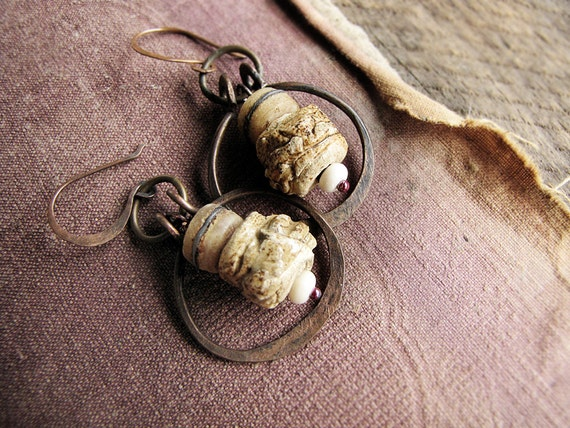 bones of the ancients - artisan made earrings - rustic clay beads - Tibetan bone - tribal style