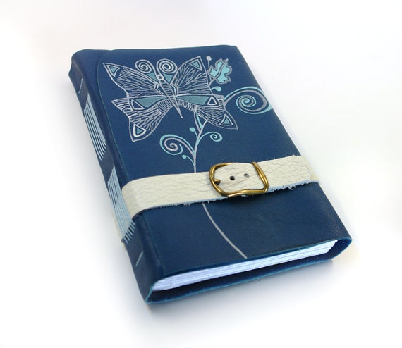 Journal in Blue Leather - Large Notebook Journal Diary 280 White Pages - CHRISTMAS DISCOUNT SALE