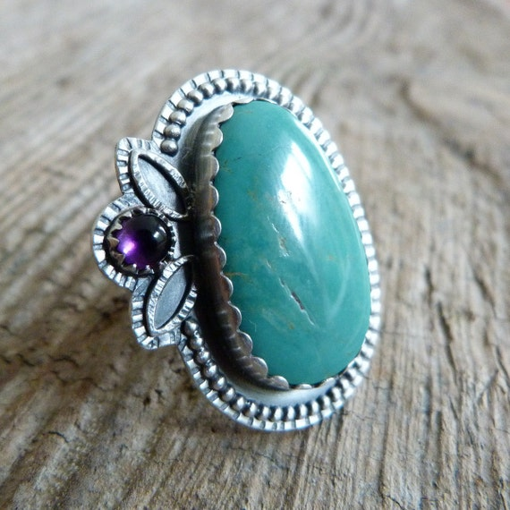 Turquoise Ring with Amethyst in Oxidized Sterling Silver