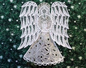 Silver Trimmed Victorian Lace Angel Tree Topper