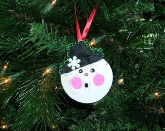 Snowman Sanddollar Christmas Ornament