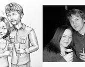 Black and White Custom Stylized Portrait - Couple
