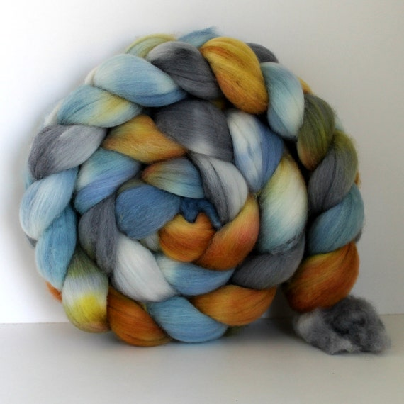 PRAIRIE-  Merino Wool- Handpainted - Hand Dyed  Roving 4 oz - For Spinning or Felting