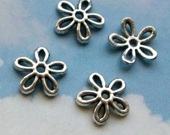 SALE - 50 multipurpose daisy connectors or bead caps, six holes, silver tone, 12mm, SALE
