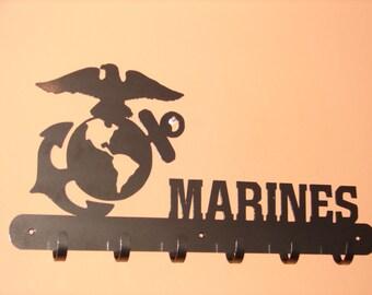 US Marines COAT RACK Robe Hook Metal Garage Hanger Office Military Corp Gear Bag