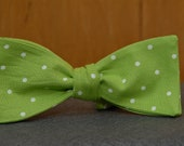 Lime Green and White Polka Dot  Bow Tie