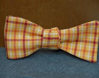 Orange, Red, Yellow Plaid  Bow Tie