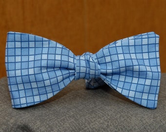 Blue Glass Plaid  Bow Tie (Joshua's Collection)
