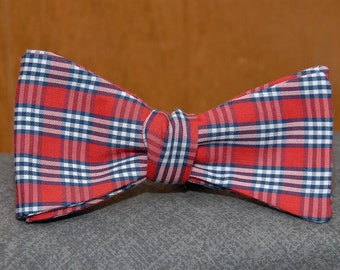 Blue, White and Red Plaid  Bow Tie