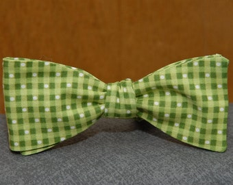 Green Checks with Dots  Bow Tie