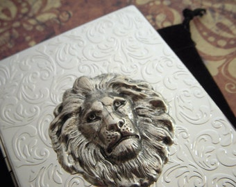 Lion Cigarette Case Chrome Silver Large Card Holder Slim Gothic Victorian Steampunk Accessories