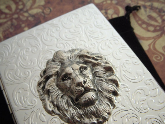 Lion Cigarette Case Chrome Silver Large Card Holder Slim Gothic Victorian Steampunk Accessories