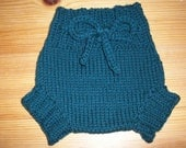 Wool Cloth Diaper Cover - Newborn Baby Handknit Dark Green Wool Soaker or Shorties with Knit Drawstring
