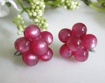 Vintage Berry Cluster Moonglow Earrings