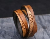 """Tooled Star Struck Brown Leather Strap, 10mm wide, Eco Friendly Leather Made in the USA, sold in 16"""" increments/Leather Straps, Leather Cord"""