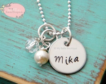 Personalized Hand Stamped Name Necklace with Ivory Swarovski Pearl and Clear Bead