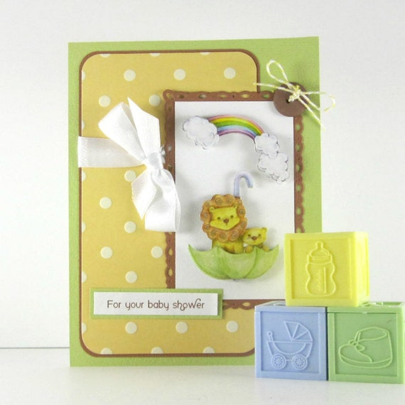Baby shower card, personalized, baby girl, baby boy, gender neutral, lion, rainbow, congratulations