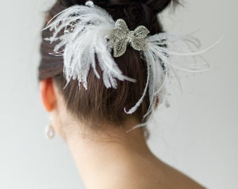 Bridal Fascinator, Bridal Head Piece, Wedding Hair Accessory, Feather Fascinator, Birdcage Veil - CECI