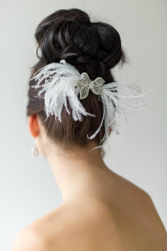 Bridal Fascinator, Bridal Head Piece, Wedding Hair Accessory, Feather Fascinator, Birdcage Veil - CECI