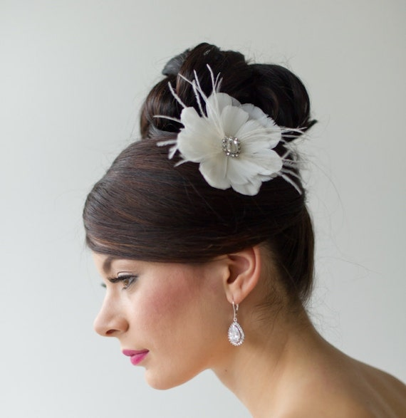Bridal Feather Fascinator, Wedding Feather Headpiece, Wedding  Feather Flower Fascinator