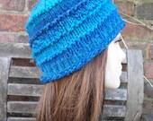 Azzuri blue turquoise wool beanie hat cap for women by irish granny