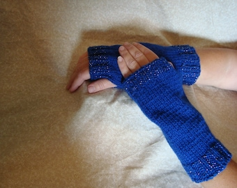 Handmade Knitted Dark Blue Hand Warmers