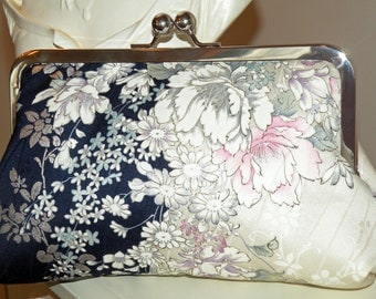 Silk Kimono Fabric Clutch/Purse/Bag..Bridal/Wedding Gift Cherry Blossom..Orchid..Roses..Midnight Blue and Ivory..see Wrap/Shawl