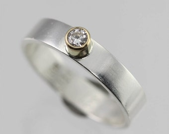 1 Stone on Shank Ring 14K (Cubic Zirconia) (Made to Order)