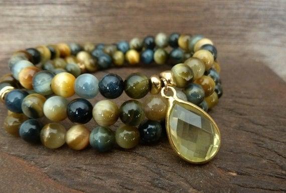 SALE - Abundance & Self Discovery  Mala Bracelet - Buddhist Worry Beads, Citrine, Amulet, Meditation, Yoga, Wrap Bead Bracelet, Reiki, Mala