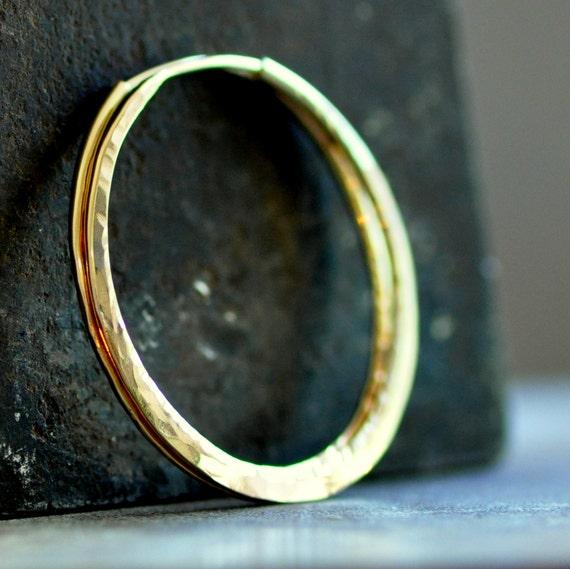14k gold hoop earrings, medium size hoops in solid yellow 14k gold, endless style