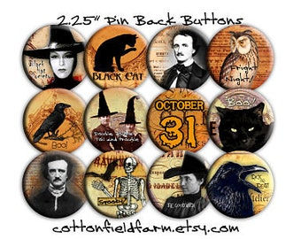 Vintage Halloween Pinback Buttons 2.25 Inch Set of 12 Witches, Poe, Ravens, Black Cats, Skeletons