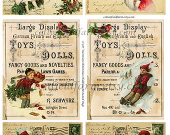 Victorian Christmas Children On Vintage Postcards and Toy Sign Digital Sheet C-387 for Cards, Tags, Scrapbooking