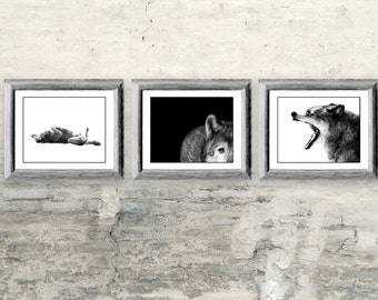 Wolf Photos Gift Set - Three 8x10 Black and White Wolf Prints - Wolf Art Decor for Animal Lover - Gift for Him or Her
