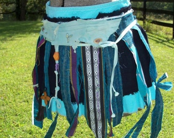 Tribal Dance Skirt Jewel Colors Leather Beaded Hemp Wooden Flower & Bone Accents Tattered Upcycled Primitive Dance Ritual Wrap